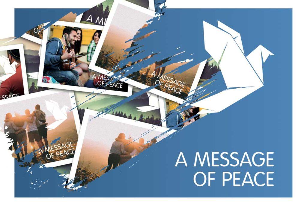 """Grafik mit Postkarten, Vogelorigami und """"A Message of Peace""""-Schriftzug"""