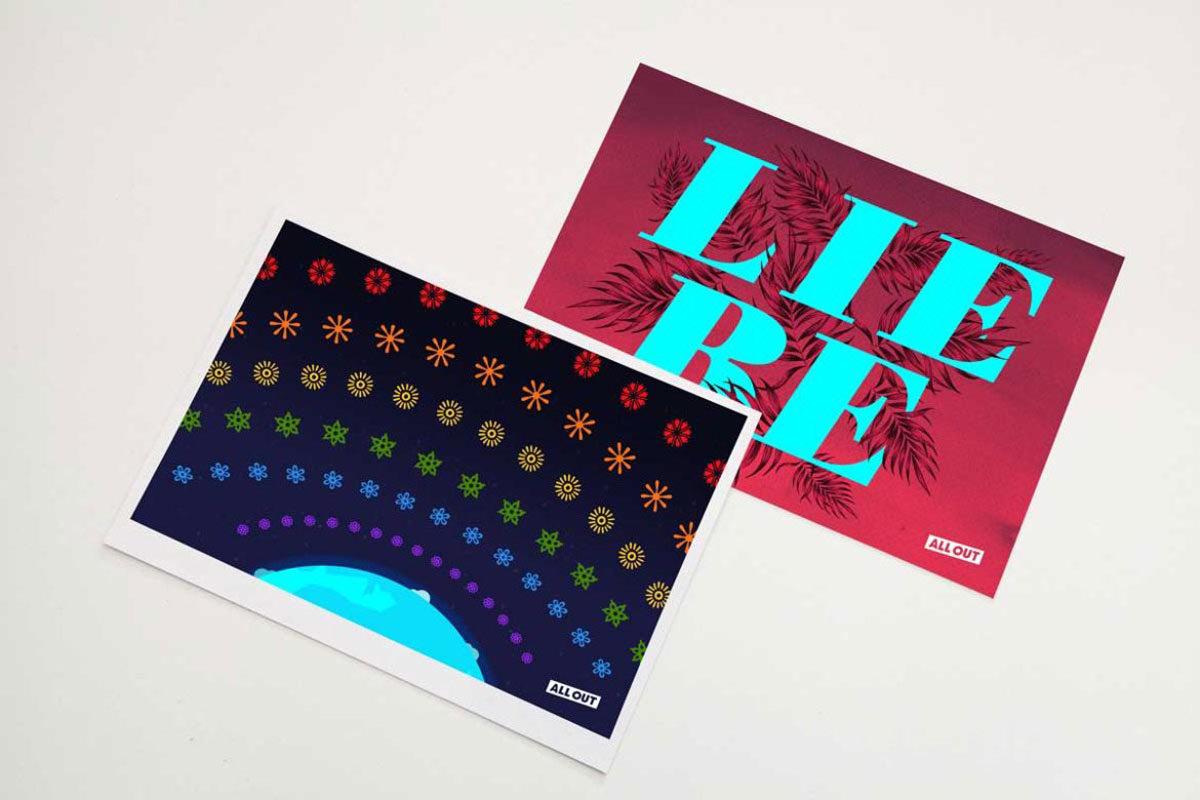 """zwei Postkarten aus der Aktion für die """"Moschee für alle"""""""