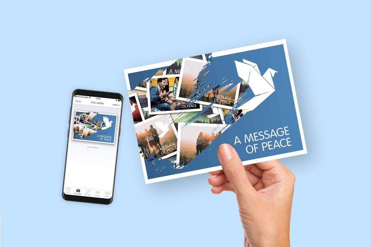 Postkarte, Hand, Smartphone