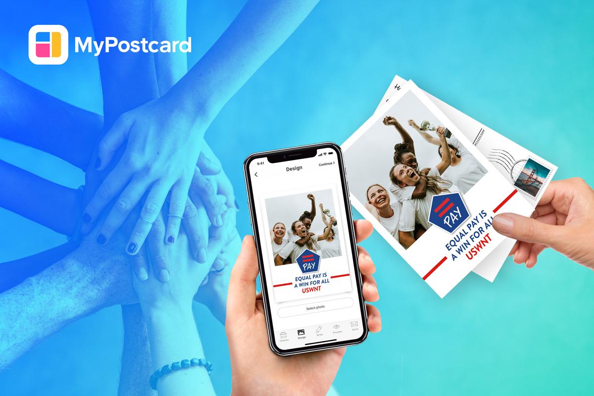 Handy Hände Postkarte