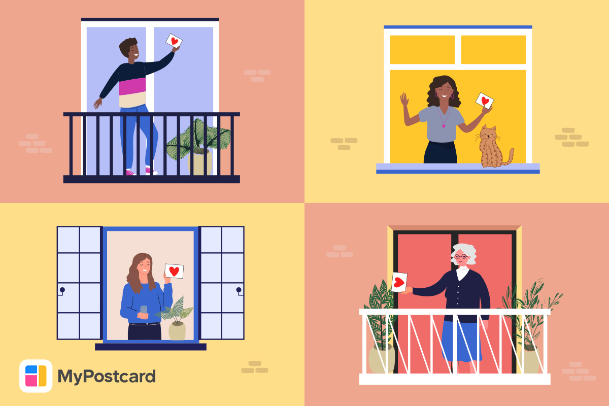 Menschen Balkone Postkarten