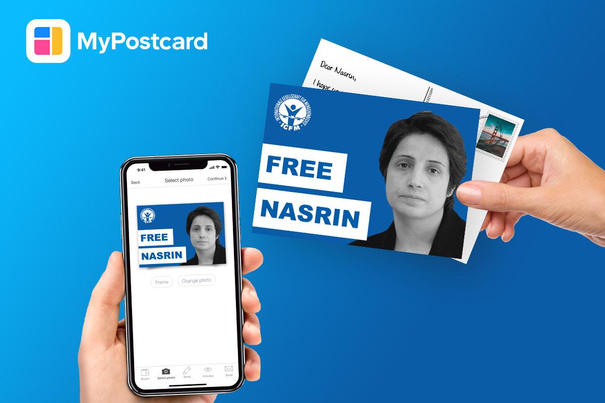 Hand Handy Postkarte FreeNasrin