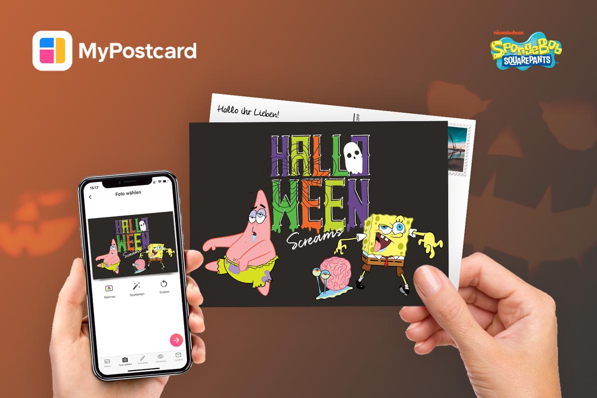Postkarte Spongebob Halloween