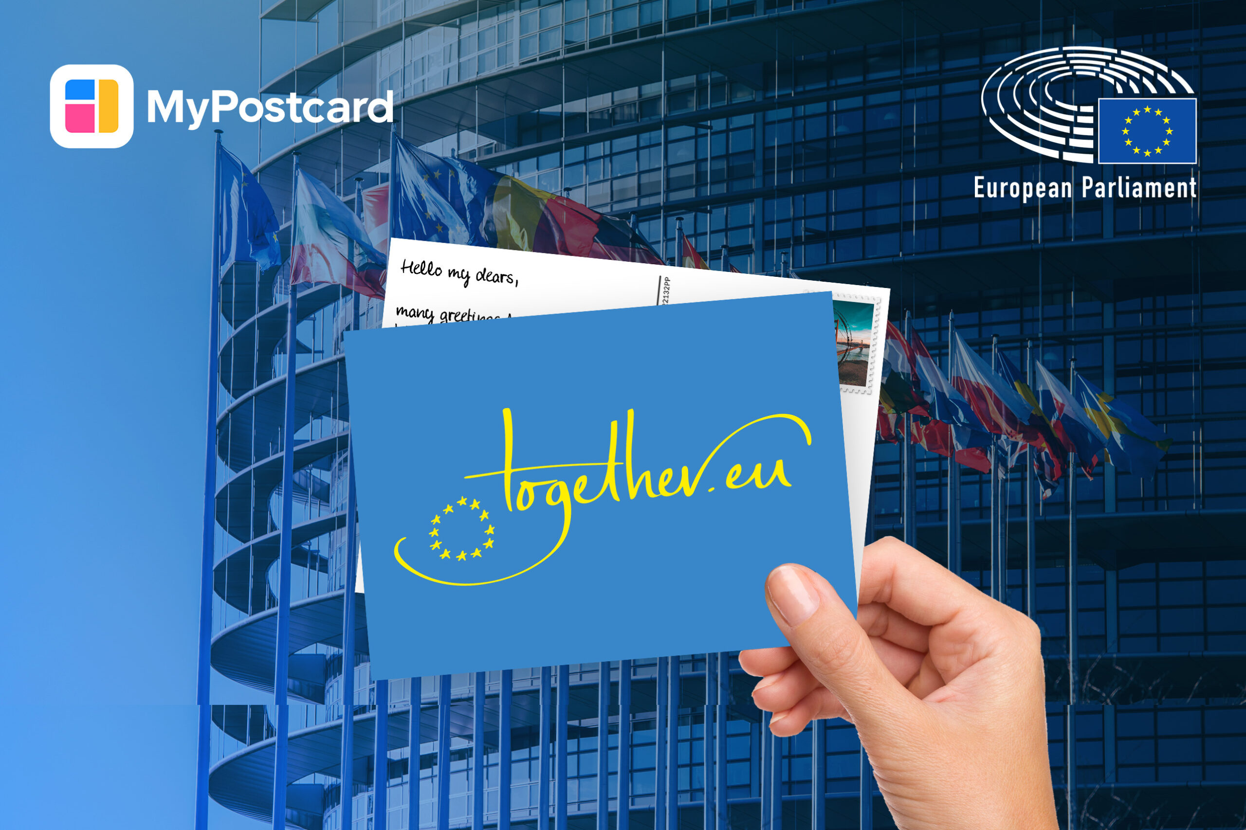 postcard hand European Parliament