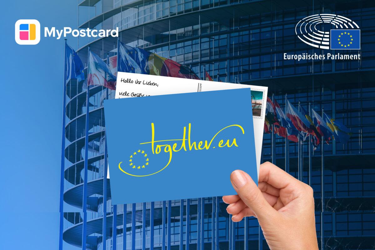 Postkarte Hand Europäisches Parlament