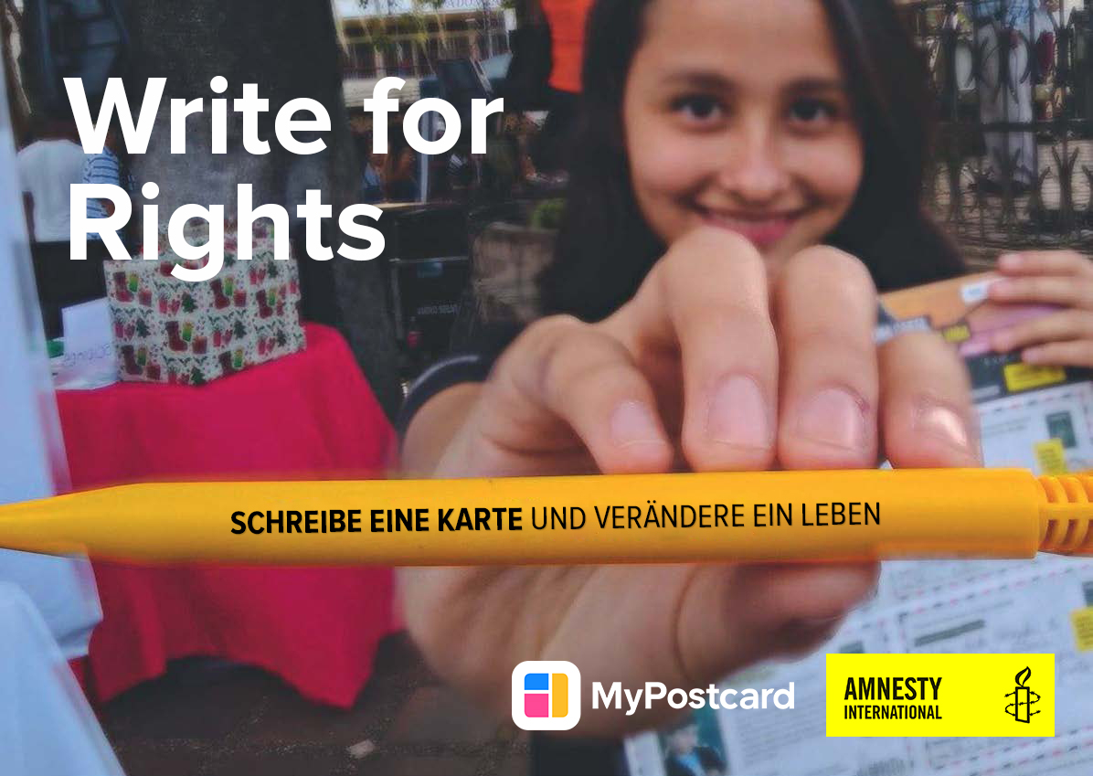 girl pen Amnesty MyPostcard